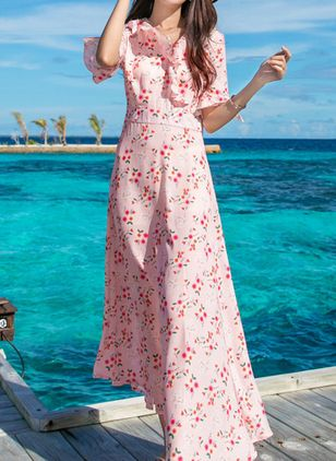Floral Ruffles Half Sleeve Maxi Dress