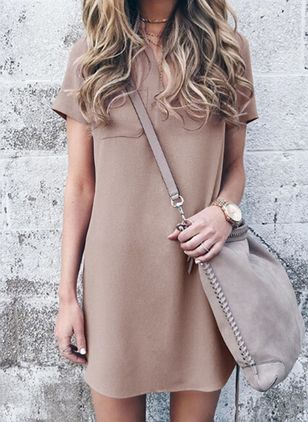 Solid Pockets Short Sleeve Above Knee Shift Dress