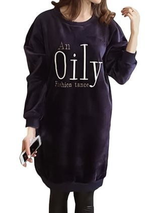 Solid Sweatershirt Long Sleeve Knee-Length Shift Dress