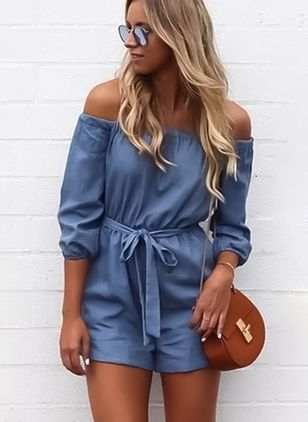 Solid 3/4 Sleeves Jumpsuits & Rompers