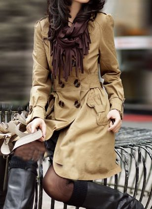 Long Sleeve Other Buttons Pockets Trench Coats