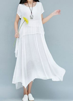 Solid Ruffles Short Sleeve Maxi Shift Dress