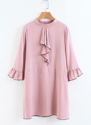 Solid Buttons 3/4 Sleeves Above Knee Shift Dress