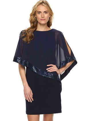 Solid Sequins Half Sleeve Above Knee Shift Dress