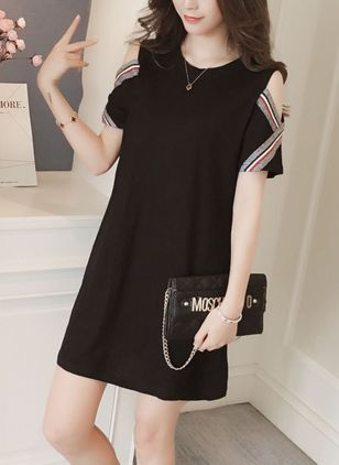 Color Block Hollow Out Short Sleeve Above Knee Shift Dress