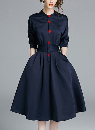 Solid Pockets Shirt Knee-Length A-line Dress