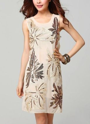 Solid Sequins Sleeveless Above Knee Shift Dress