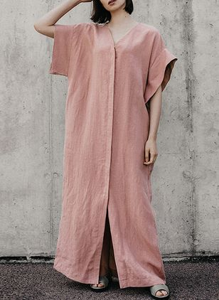 Solid Short Sleeve Maxi Shift Dress