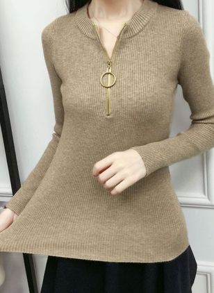 Others Solid Tight Regular Zipper Sweaters