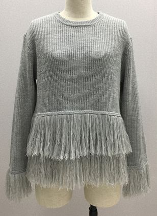 Round Neckline Solid Loose Regular Tassel Sweaters