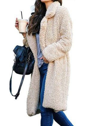 Hapedy Women's Fashion Winter Jacket Solid Color Long Sleeve Cardigan Lapel Thicken Plush Warmth Coat