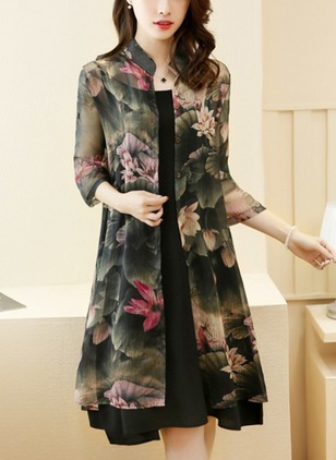 Floral Wrap 3/4 Sleeves Knee-Length Shift Dress