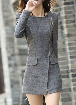 Long Sleeve Round Neck Zipper Peacoats