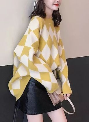Round Neckline Geometric Oversized Loose Long Shift Sweaters Sweaters