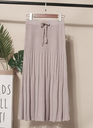 Solid Mid-Calf Casual Sashes Skirts