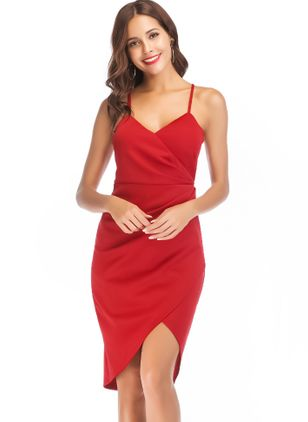 Solid Slip Sleeveless High Low Sheath Dress
