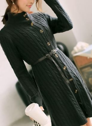 Solid Buttons Sweater Knee-Length Shift Dress