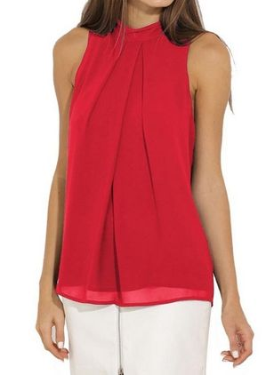 Solid Casual Round Neckline Sleeveless Blouses