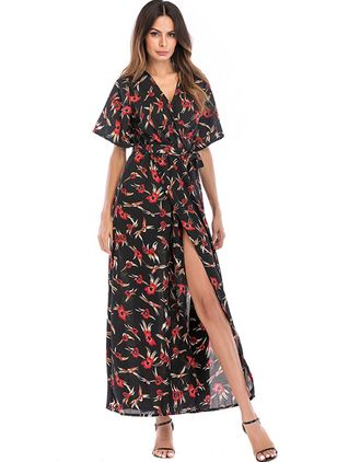 Floral Wrap Short Sleeve Maxi Shift Dress
