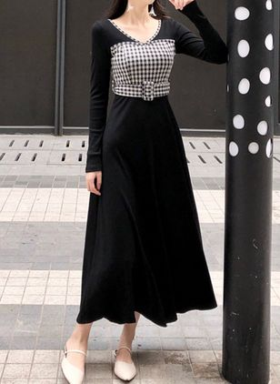 Solid Ruffles Long Sleeve Maxi Dress