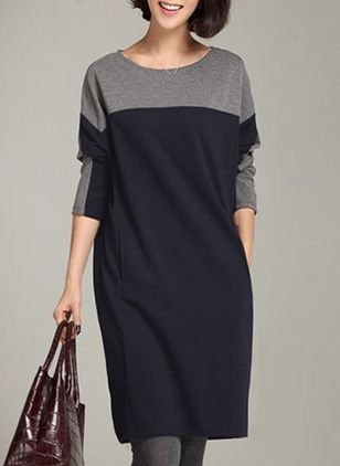 Color Block Pockets Long Sleeve Knee-Length Shift Dress