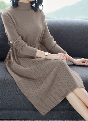 Solid Sweater Long Sleeve Midi Sheath Dress
