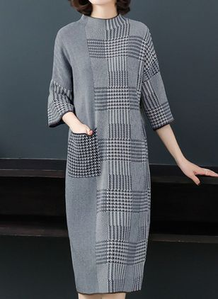Plaid Pockets 3/4 Sleeves Midi Shift Dress