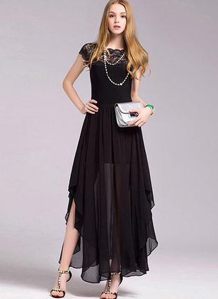 Solid Lace Cap Sleeve High Low A-line Dress