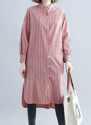 Stripe Shirt Long Sleeve Knee-Length Shift Dress