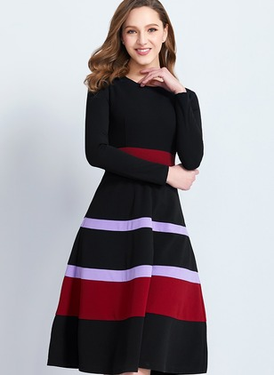 Color Block Long Sleeve Knee-Length A-line Dress