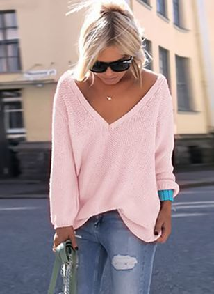 Sexy Casual Loose Lange mouwen V-hals Shirts Street Fashion Pullover Vrouwelijke Sweaters