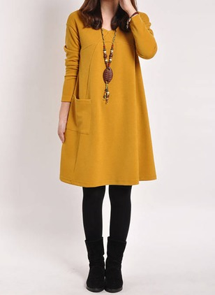 Solid Pockets Long Sleeve Knee-Length Dress