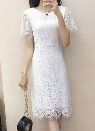 Solid Lace Long Sleeve Knee-Length Dress