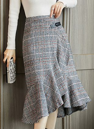 Color Block Mid-Calf Casual Skirts