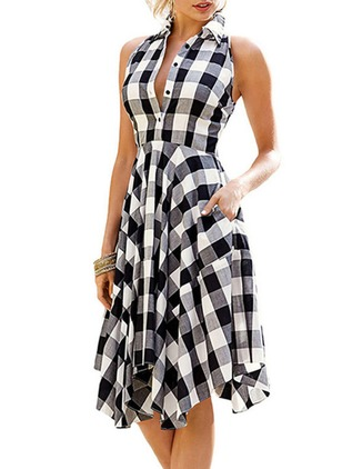 Plaid Pockets Shirt Knee-Length A-line Dress