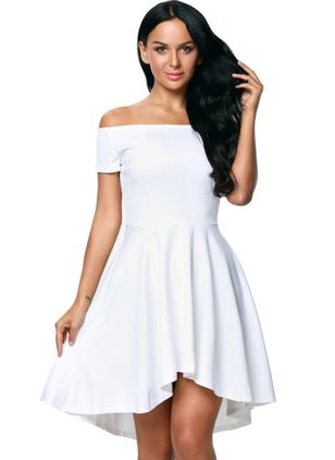Solid Ruffles Short Sleeve Knee-Length Dress