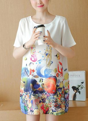 Character Tshirt Short Sleeve Above Knee Dress