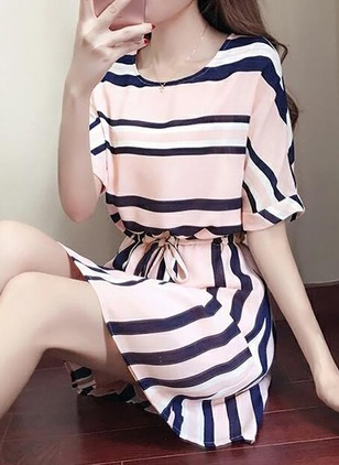 Stripe Wrap Short Sleeve Above Knee A-line Dress