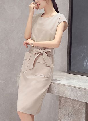 Solid Pockets Wrap Short Sleeve Knee-Length Dress