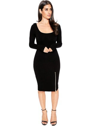 Solid Zipper Pencil Knee-Length Bodycon Dress