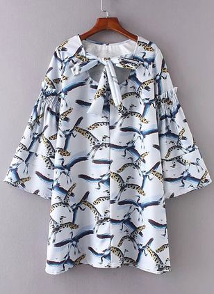 Animal Bow Long Sleeve Above Knee Shift Dress