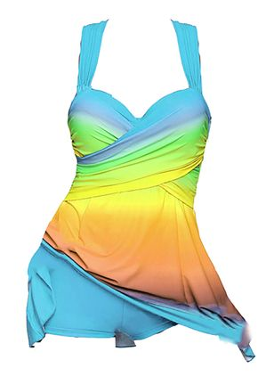 Color Block Ruffles Tankinis Swimwear