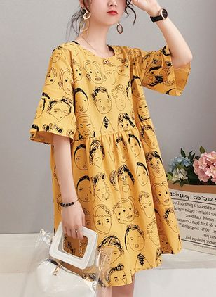 Character Short Sleeve Above Knee Shift Dress