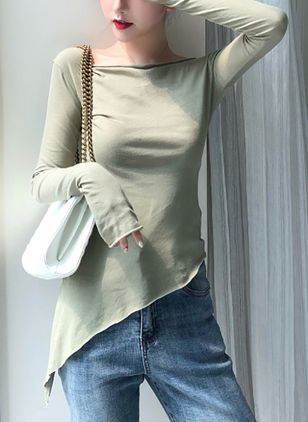 Solid Boat Neckline Long Sleeve Casual T-shirts