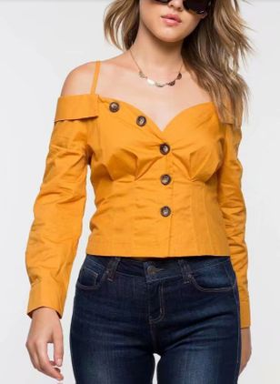 Solid Casual Camisole Neckline Long Sleeve Blouses
