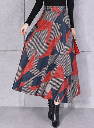 Color Block Maxi Elegant Ruffles Skirts