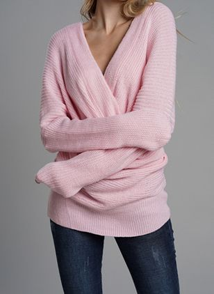 V-Neckline Solid Loose Regular None Sweaters