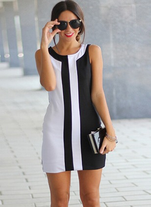 Stripe Sleeveless Above Knee Shift Dress