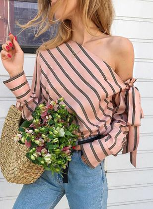 Stripe Sexy Oblique Neckline Long Sleeve Blouses