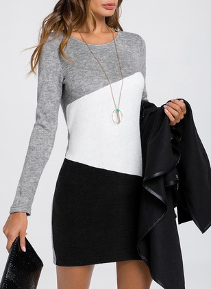 Color Block Shirt Long Sleeve Above Knee Sheath Dress
